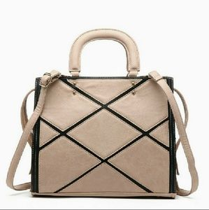 NWT Pink Haley Acacia Patchwork Satchel in Beige
